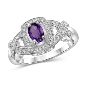 JewelonFire 1/2 Carat T.G.W. Amethyst And 1/20 Carat T.W. White Diamond Sterling Silver Ring - Assorted Colors