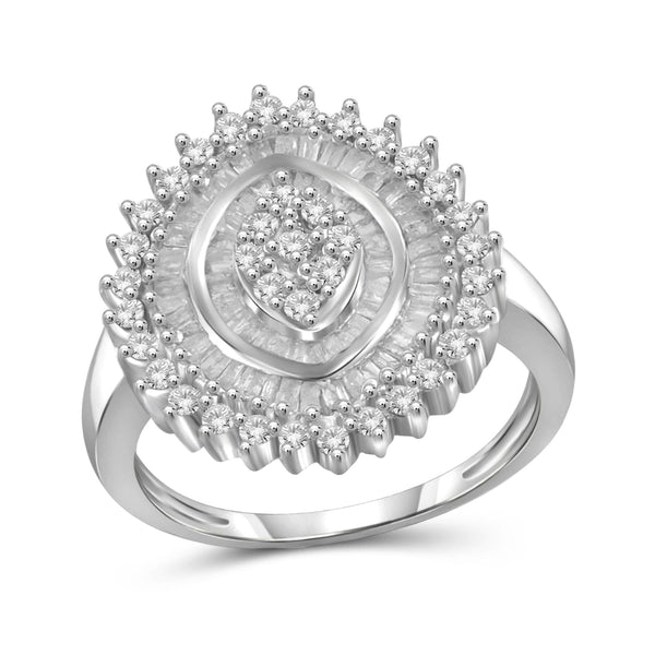 JewelonFire 1 Carat T.W. White Diamond Sterling Silver Vintage Style Triple Halo Sun Burst Ring