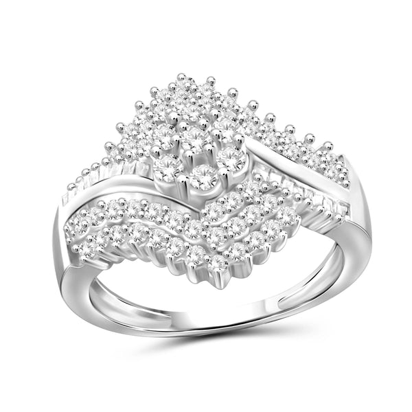 JewelersClub 1 Carat T.W. White Diamond Sterling Silver Vintage Inspired Cluster Ring