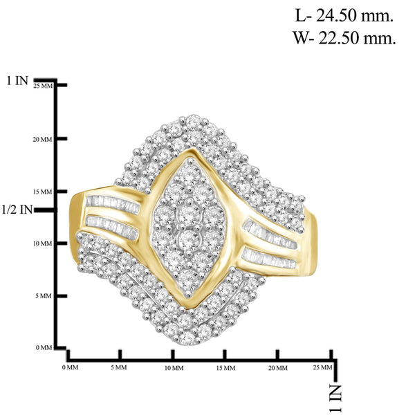 JewelonFire 1 Carat T.W. White Diamond Sterling Silver Marquise Shaped Split Halo Ring