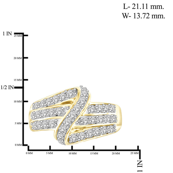 JewelonFire 1 Carat T.W. White Diamond Sterling Silver Cross-over Strip Ring