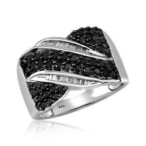 JewelonFire 1 Carat T.W. Black And White Diamond Sterling Silver Band