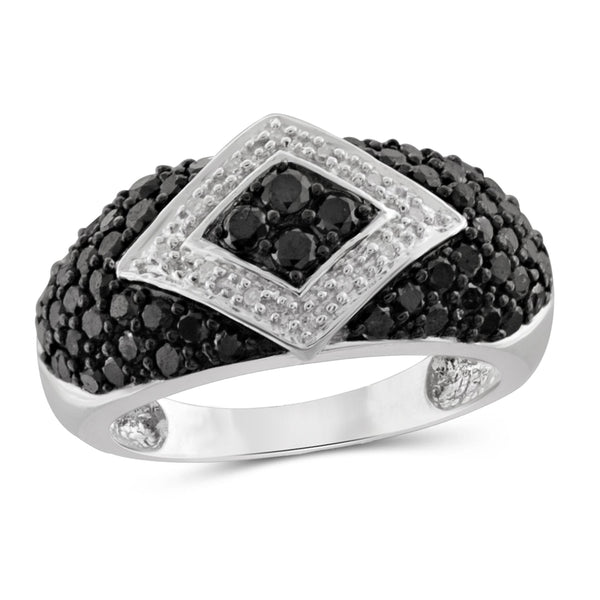 JewelersClub 1 Carat T.W. Black And White Diamond Sterling Silver Band