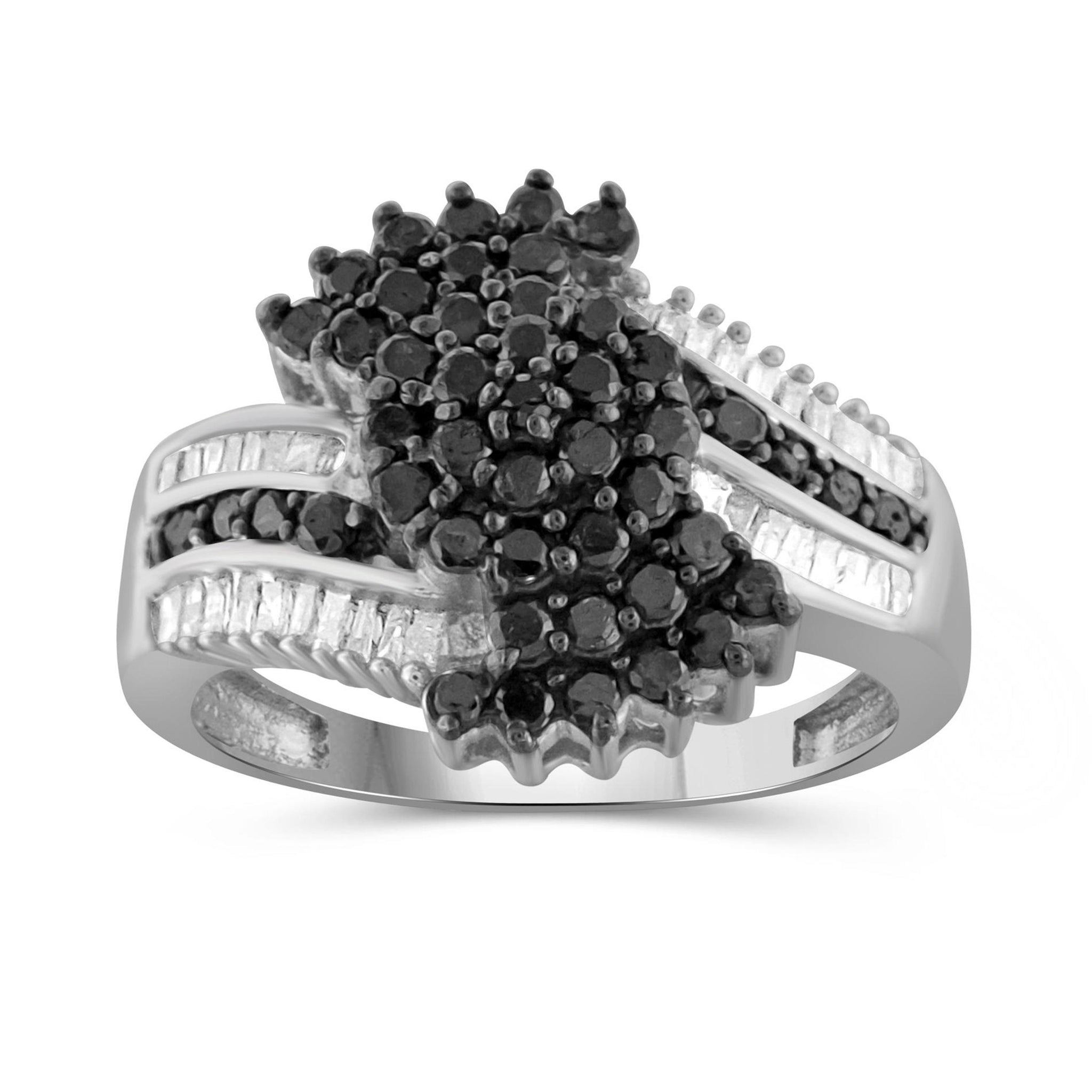 JewelersClub 1 Carat T.W. Black And White Diamond Sterling Silver Ring