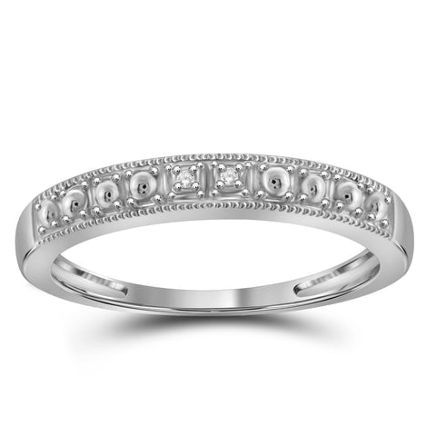 JewelonFire Accent White Diamond Sterling Silver Wedding Band