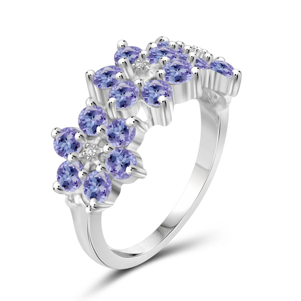 JewelonFire 1 3/4 Carat T.G.W. Tanzanite and White Diamond Accent Sterling Silver Flower Ring- Assorted Colors