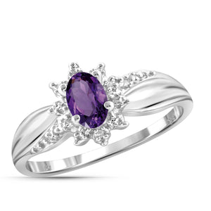 JewelonFire 1/2 Carat T.G.W Amethyst And White Diamond Accent Sterling Silver Ring - Assorted Colors