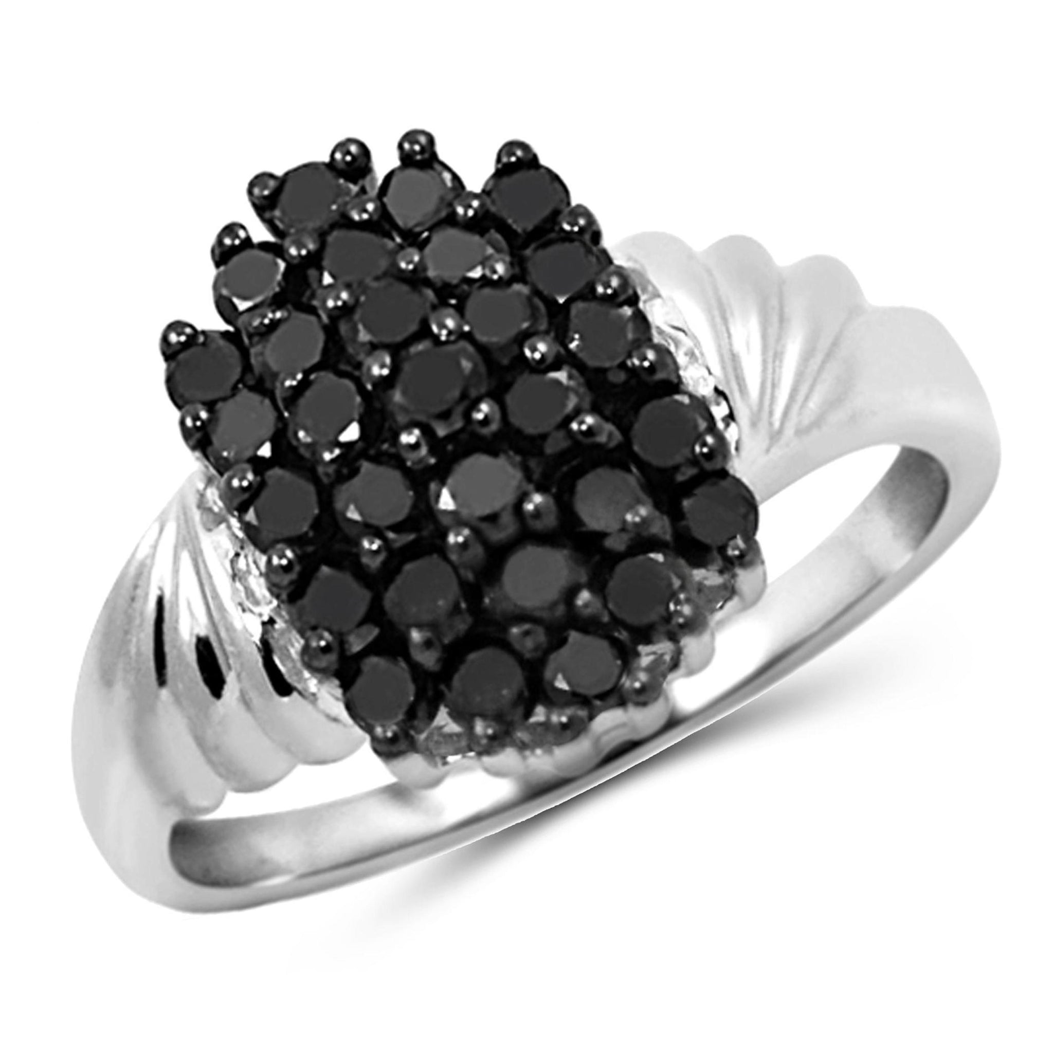 JewelonFire 1 CTW Black Diamond Sterling Silver Ring