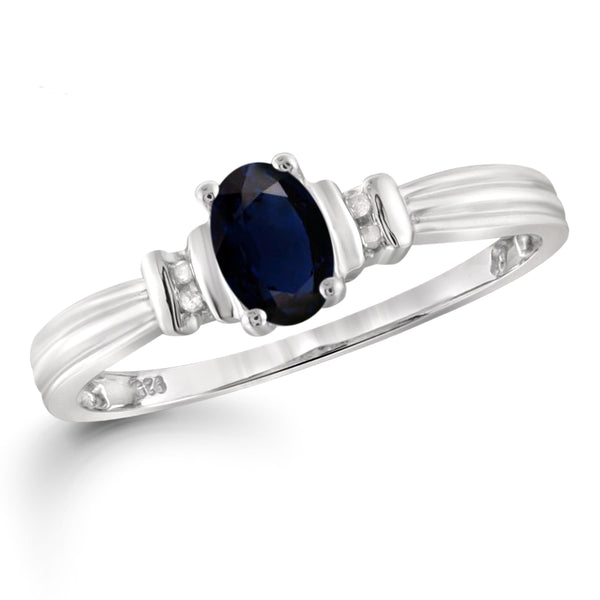 JewelonFire 1.00 Carat T.G.W. Sapphire and 1/20 ctw White Diamond Sterling Silver Ring - Assorted Colors