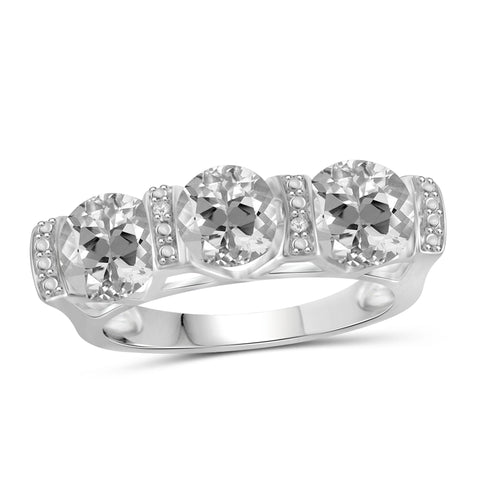 JewelonFire 2 3/4 Carat T.G.W. White Topaz And White Diamond Accent Sterling Silver Ring - Assorted Colors