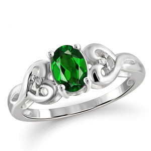 JewelonFire 0.80 Carat T.G.W. Chrome Diopside and White Diamond Accent Sterling Silver Ring - Assorted Colors