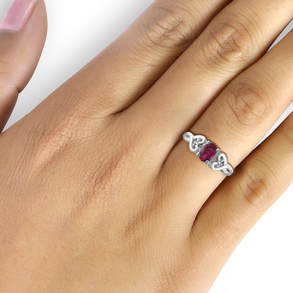 JewelersClub 0.90 Carat T.G.W. Ruby and White Diamond Accent Sterling Silver Ring - Assorted Colors