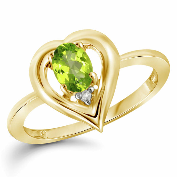 JewelersClub 1/2 Carat T.G.W. Peridot And White Diamond Accent Sterling Silver Ring - Assorted Colors