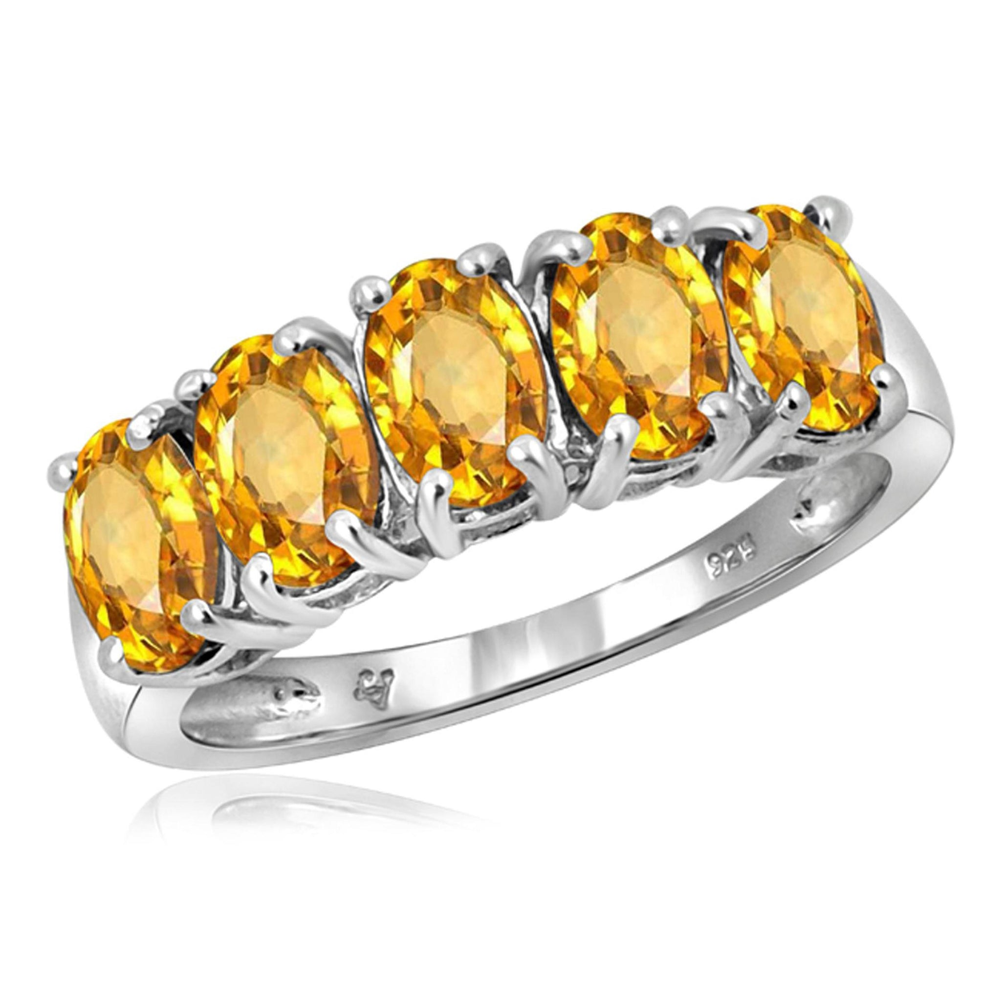 JewelonFire 2 1/3 Carat T.G.W. Citrine Sterling Silver Ring - Assorted Colors