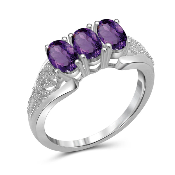JewelonFire 1 1/4 Carat T.G.W. Amethyst Sterling Silver 3 Stone Ring - Assorted Colors