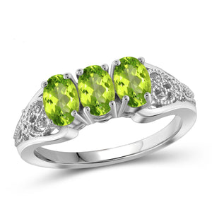 JewelonFire 1 1/2 Carat T.G.W. Peridot Sterling Silver Ring - Assorted Colors