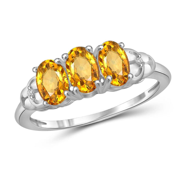 JewelonFire 1 1/3 Carat T.G.W. Citrine And White Diamond Accent Sterling Silver 3 Stone Ring - Assorted Colors