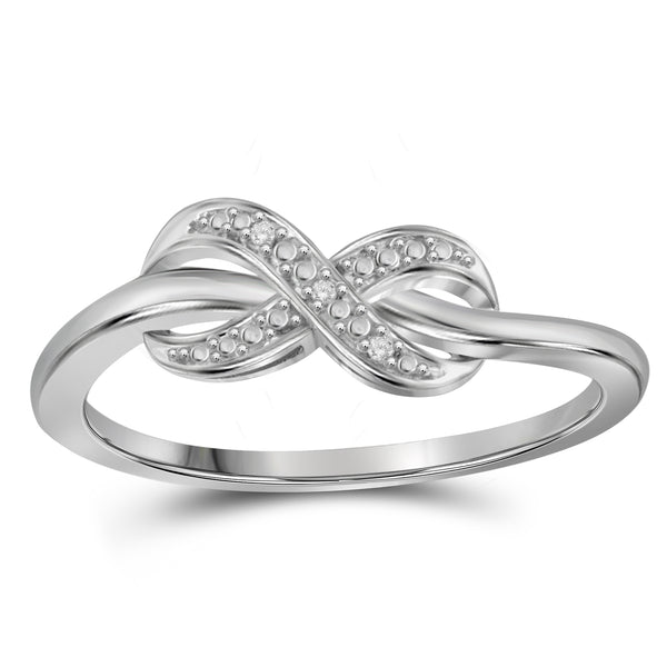 JewelonFire Accent Diamond Sterling Silver Infinity Ring