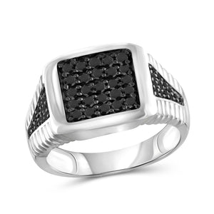 JewelersClub 1 Carat T.W. Black Diamond Square Sterling Silver Men's Ring