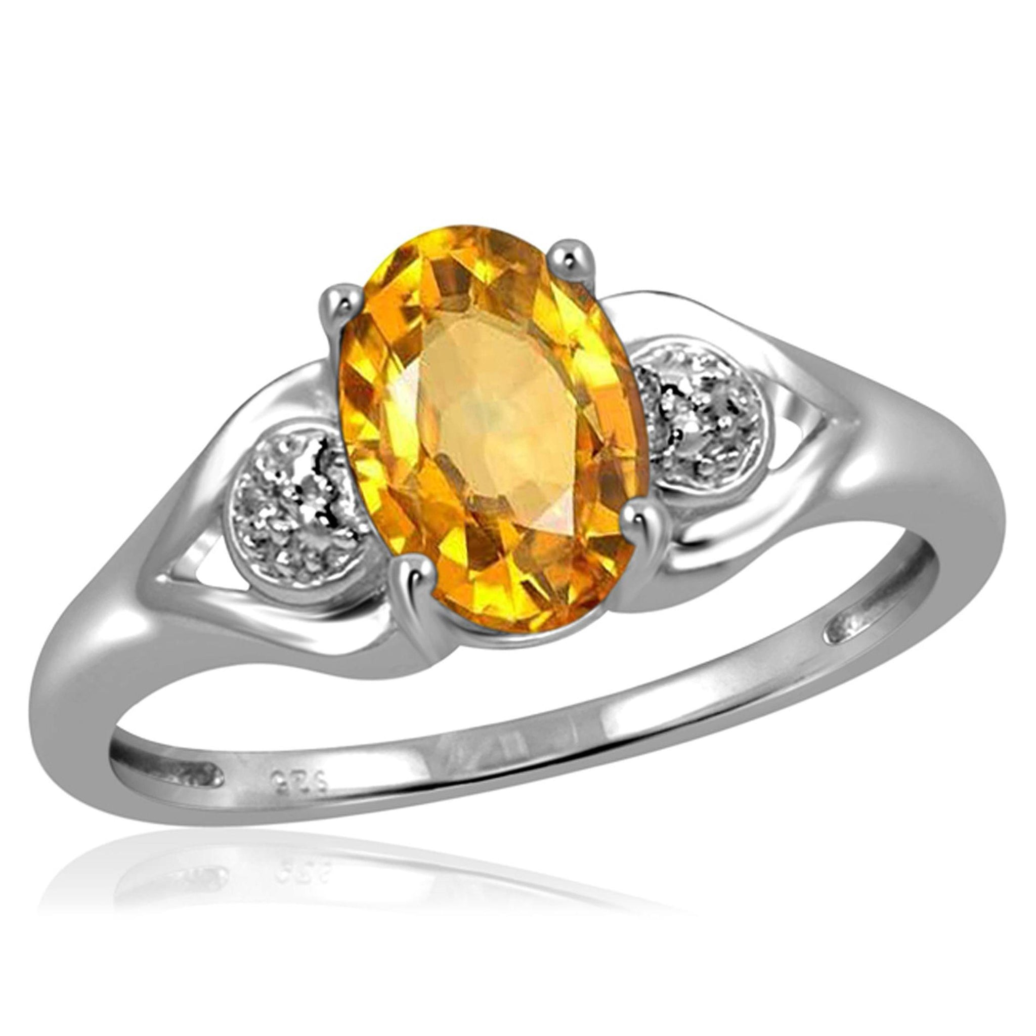 JewelersClub 1.00 Carat T.G.W. Citrine And White Diamond Accent Sterling Silver Ring - Assorted Colors
