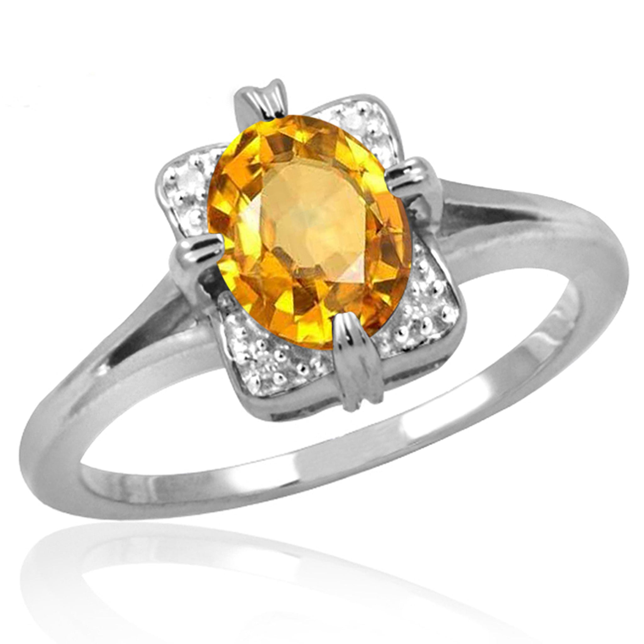 JewelonFire 1.00 Carat T.G.W. Citrine And White Diamond Accent Sterling Silver Ring - Assorted Colors