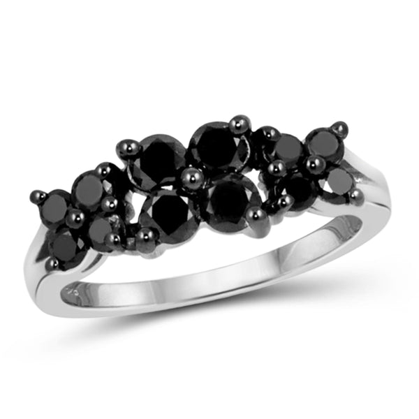 JewelonFire 1 CTW Black Diamond Sterling Silver Band
