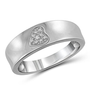 JewelonFire Accent Diamond Sterling Silver Heart Ring