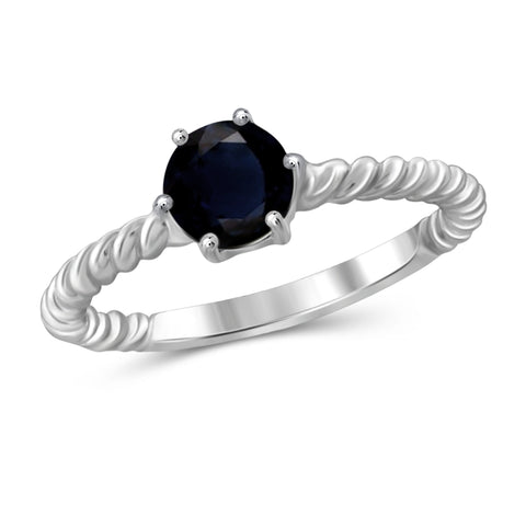 JewelonFire 1 1/5 Carat T.G.W. Sapphire Sterling Silver Ring - Assorted Colors