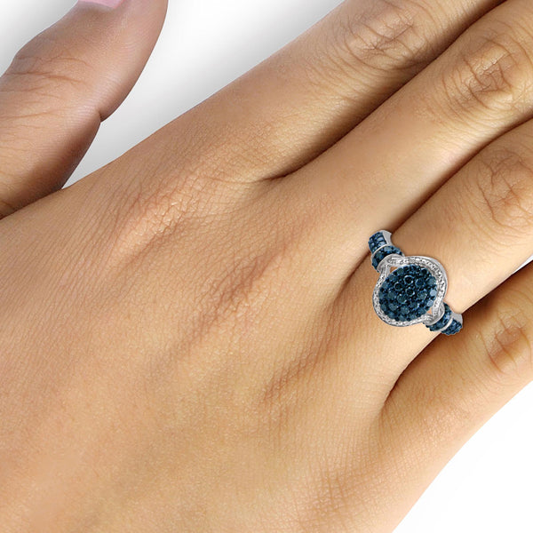 JewelonFire 1 Carat T.W. Blue And White Diamond Sterling Silver Oval Halo Ring