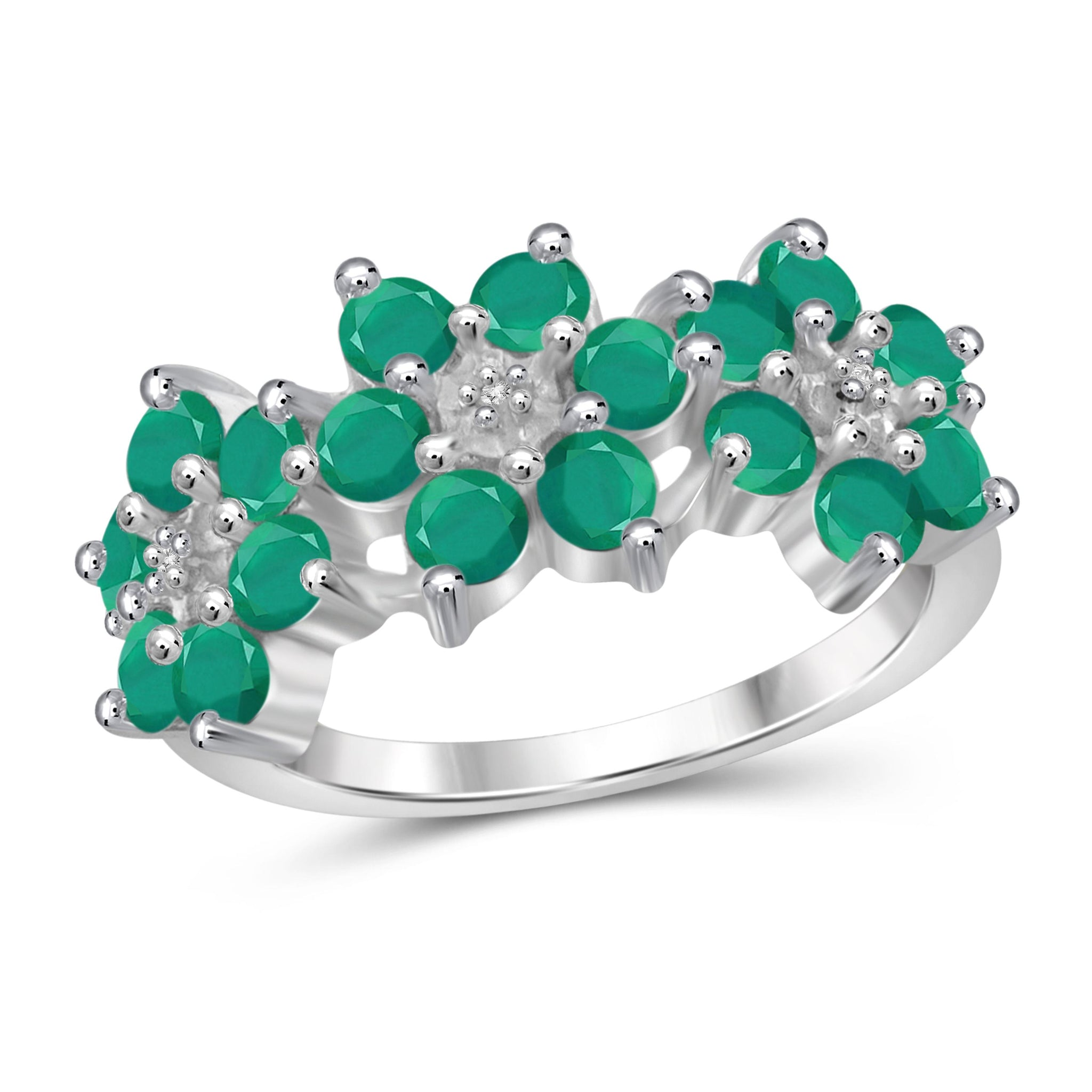 JewelonFire 2 Carat T.G.W. Emerald and White Diamond Accent Sterling Silver Flower Ring- Assorted Colors