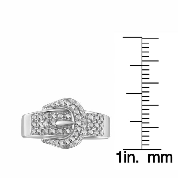 JewelonFire Accent Diamond Sterling Silver Buckle Ring