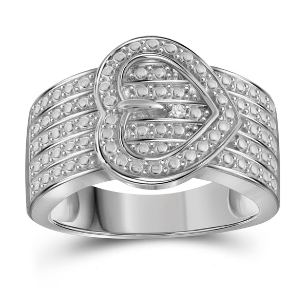 JewelersClub Accent White Diamond Sterling Silver Heart Buckle Ring
