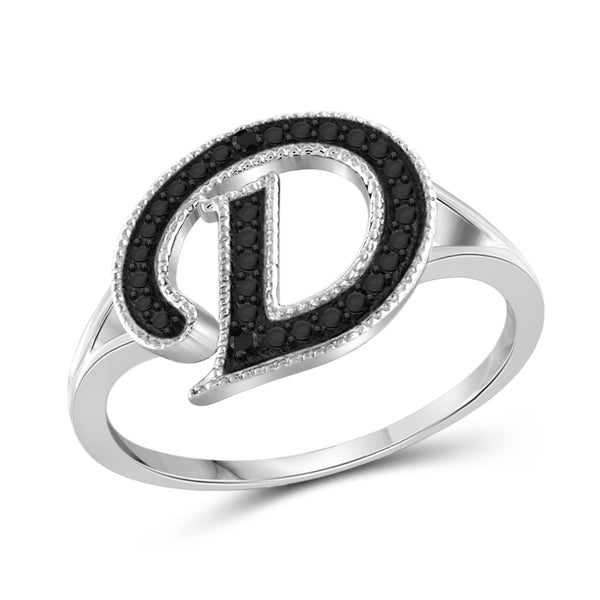 "JewelonFire Black Diamond Accent Sterling Silver ""A TO Z "" Initial Spell it Out Ring"