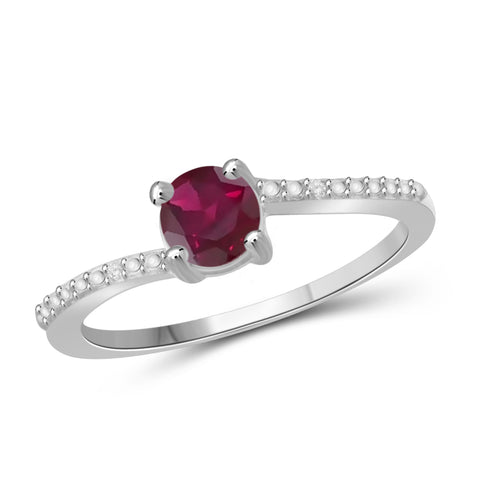 JewelonFire 3/4 Carat T.G.W. Ruby and White Diamond Accent Sterling Silver Promise Ring - Assorted Colors