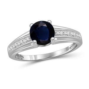 JewelonFire 1 1/5 Carat T.G.W. Sapphire and White Diamond Accent Sterling Silver Promise Ring- Assorted Colors