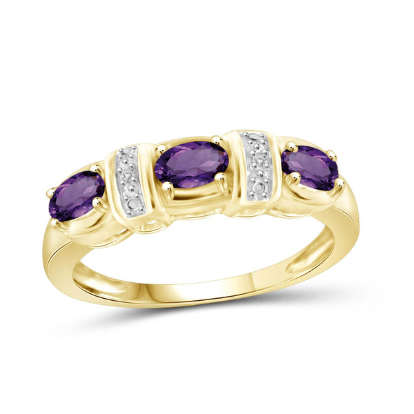JewelonFire 3/4 Carat T.G.W. Amethyst And White Diamond Accent Sterling Silver Ring - Assorted Colors