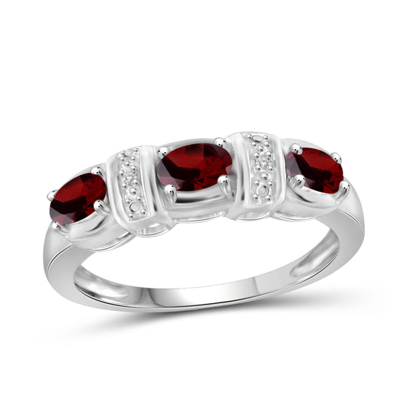 JewelonFire 1.00 Carat T.G.W. Garnet And White Diamond Accent Sterling Silver Ring - Assorted Colors