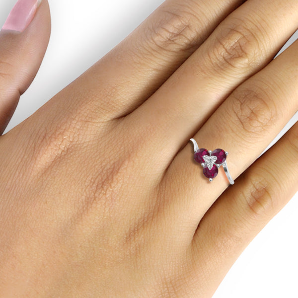 JewelonFire 2 Carat T.G.W. Ruby Sterling Silver 3-Stone Ring- Assorted Colors