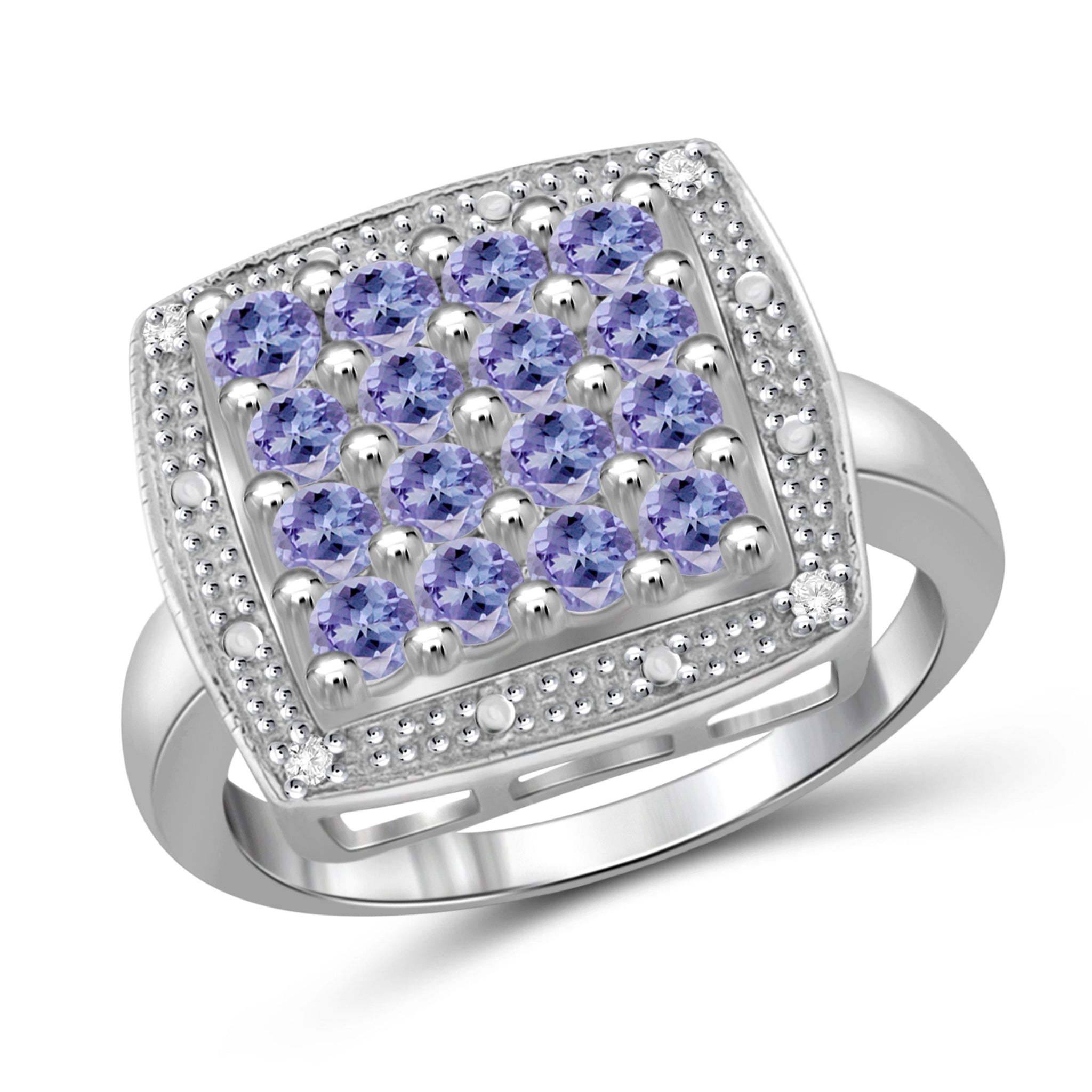 JewelonFire 1 Carat T.G.W. Tanzanite and White Diamond Accent Sterling Silver Ring- Assorted Colors