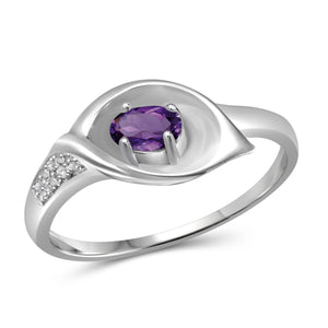 JewelonFire 1/4 Carat T.G.W. Amethyst And White Diamond Accent Sterling Silver Ring - Assorted Colors