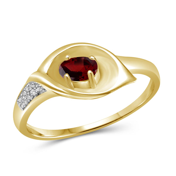 JewelonFire 1/3 Carat T.G.W. Garnet And White Diamond Accent Sterling Silver Ring - Assorted Colors