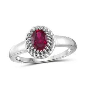 JewelonFire 0.90 Carat T.G.W. Ruby Sterling Silver Ring - Assorted Colors