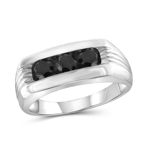 JewelersClub 1 Carat T.W. Black Diamond Sterling Silver Three Stone Men's Ring