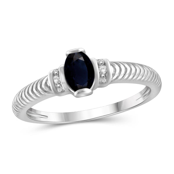 JewelersClub 0.60 Carat T.G.W. Sapphire and White Diamond Accent Sterling Silver Ring - Assorted Colors