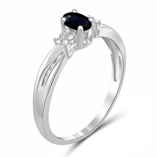 JewelersClub 0.30 Carat T.G.W. Sapphire and White Diamond Accent Sterling Silver Ring - Assorted Colors