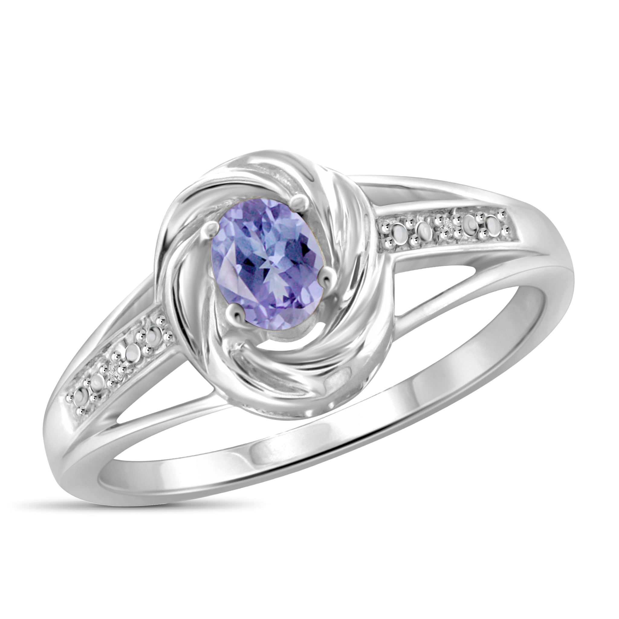 JewelonFire 0.20 Carat T.G.W. Tanzanite and White Diamond Accent Sterling Silver Ring - Assorted Colors