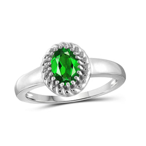 JewelonFire 0.80 Carat T.G.W. Chrome Diopside Sterling Silver Ring - Assorted Colors
