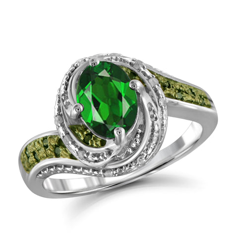 JewelonFire 1.15 Carat T.G.W. Chrome Diopside and 1/10 ctw Green and White Diamond Sterling Silver Ring