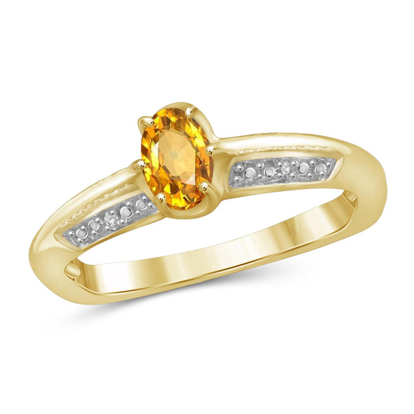 JewelonFire 1/2 Carat T.G.W. Citrine And White Diamond Accent Sterling Silver Ring - Assorting Colors
