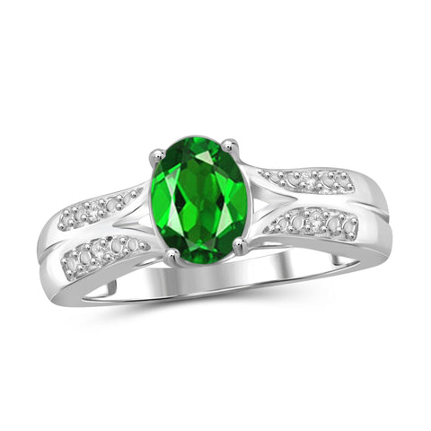 JewelonFire 1.15 Carat T.G.W. Chrome Diopside and 1/20 ctw White Diamond Sterling Silver Ring - Assorted Colors